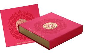 indian wedding card box card box in exquisite pink antique golden color