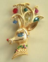 Antique Christmas Ornaments Mylu Vintage Reindeer Christmas Brooch 145 00 Via Etsy