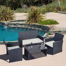 Real Wicker Patio Furniture - 4 pc rattan patio furniture set garden lawn sofa black wicker