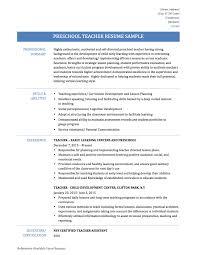 resume resume preschool teacher
