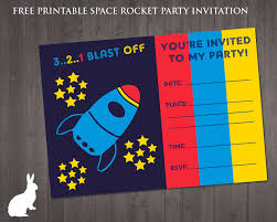 free space rocket party invitation ruby and the rabbit free