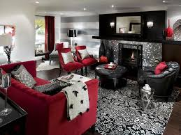 classy living room stunning red black and white living room