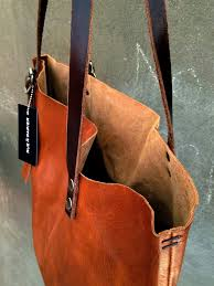 Handmade Leather Tote Bag - 1 stitched italian leather tote bag collection 2
