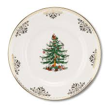 spode tree gold collection set of 4 dinner plates