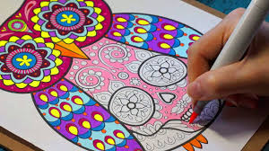 coloring an owl sugar skull with thaneeya youtube