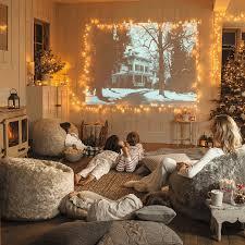 string lights living room brown leather single sofa