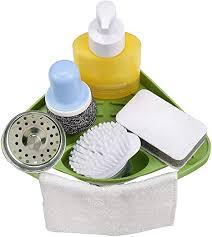kitchen sink cabinet sponge holder attbee kitchen sink caddy sponge holder scratcher holder cleaning brush holder sink organizer green