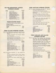 Ford Interior Paint 1965 Interior Paint Chart Maine Mustang