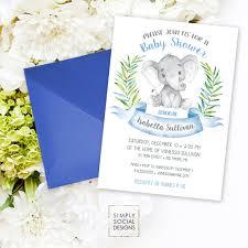 elephant baby shower invitation blue boho elephant it u0027s a boy