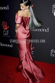 rihanna satin pink off shoulder trumpet dress diamond ball