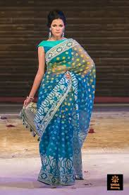 bangladeshi jamdani saree blue and turquoise bangladeshi jamdani saree by aarong