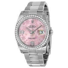 pink bracelet watches images Rolex oyster perpetual datejust 36 pink floral dial stainless jpg