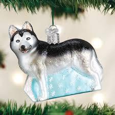 world siberian husky glass tree ornament 3 5 inch