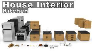 Minecraft Kitchen Furniture Minecraft House Interior Furniture Model Pack Kitchen Cinema 4d