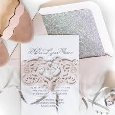 monogram wedding invitations blush pink laser cut monogram customized wedding