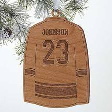 personalized sports ornaments hockey jersey wood