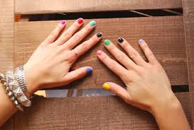 multi colored nails hey wanderer
