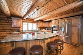 blue kitchen cabinets in cabin log cabin kitchens cabinets design ideas designing idea