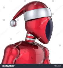 christmas robot santa claus cyborg android stock illustration