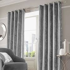 Grey Curtains 90 X 90 Crushed Velvet Eyelet Ring Top Pair Of Fully Lined Curtains