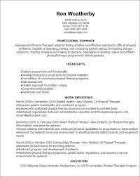 Respiratory Therapist Resume Templates Incredible Physical Therapy Resume Examples 10 Professional