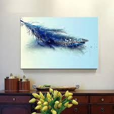 2017 diamond blue feather modern canvas painting home decor canvas