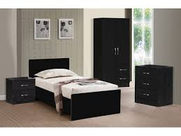 caspian high gloss black walnut bedroom furniture set