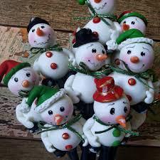 ponteiras de lápis boneco de neve em biscuit porcelana fria