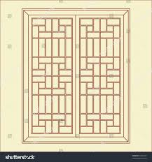 vector traditional chinese classic window door stock vector