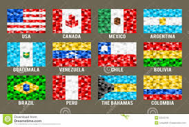 South America Flags North U0026 South America Low Poly Flags Stock Vector Illustration