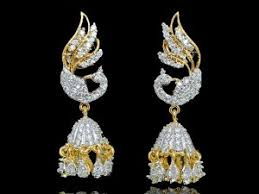 jhumki style earrings jhumkas earrings silver golden american diamond jhumki