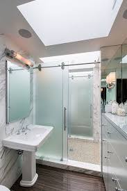 frosted glass shower door contemporary bathroom virtus design