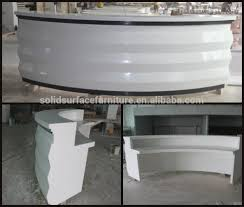 Reception Desk White by Modern Design Solid Surface Semi Circle Curved White Reception