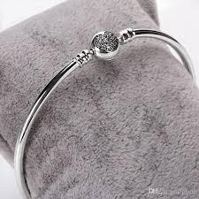 jewelry silver handmade bracelet images Luxury brand women silver bangle heart cz pave bracelet fit jpg