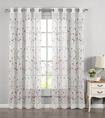 amazon com window elements wavy leaves embroidered sheer extra