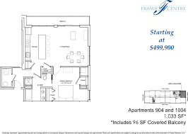Floor Layouts Unit 1004 U2013 1br 1 5ba Floor Plan U0026 Views Fraser Centre Condominiums