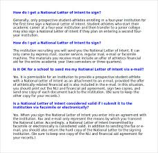 College National Letter Of Intent Sle National Letter Of Intent 9 Free Documents In Pdf Word