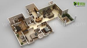 3bhk Modern 3d Floor Plan Design For Home by Yantram Studio 3D