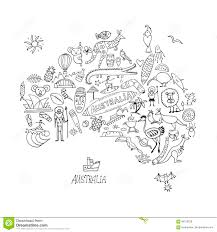 australian map with icons set sketch for your design stock vector