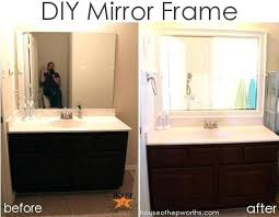 Frame Existing Bathroom Mirror How To Add A Frame To A Bathroom Mirror Bedroom Wondrous Wood