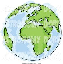clip art of a drawing of a globe of planet earth with green
