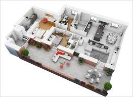 2 Room Flat Floor Plan 10 Awesome Two Bedroom Apartment 3d Floor Plans Architecture