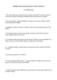 problemas razonados para cuarto grado problemas de matematicas decimales y fracciones 6º de primaria