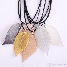 real leaf necklace images Wholesale natural real leaf dipped long leaf pendants necklace for jpg