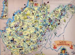 Maps Virginia by Large Tourist Illustrated Map Of West Virginia West Virginia