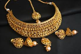 gold choker necklace set images Imitation gold tone choker necklace set with maang tikka jpg
