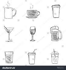 vector set sketch drinks icons tea stock vector 268619972