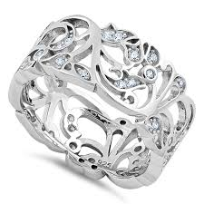 sterling silver floral ornaments wave cz ring
