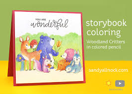 storybook coloring woodland critters colored pencil u2013 sandy