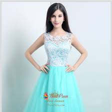 light tiffany blue prom dresses with white lace overlay top next